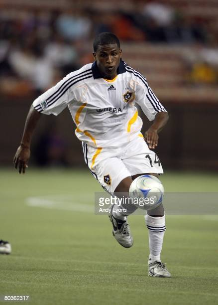 Edson Buddle of the Los Angeles Galaxy pursues the ball during the game against Gamba Osaka in the Pan Pacific Championships on February 20 2008 at...