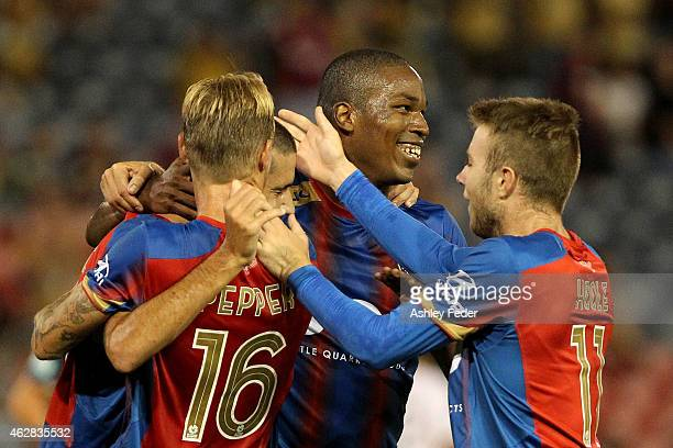 Edson Montano of the Jets celebrates a goal with team mates during the round 16 A-League match between the Newcastle Jets and Brisbane Roar at Hunter...