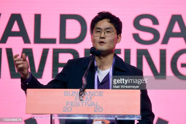 Edson Oda speaks onstage during the 2020 Sundance Film Festival Awards Night Ceremony at Basin Recreation Field House on February 01 2020 in Park...