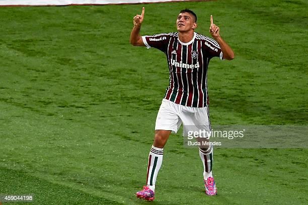 Edson of Fluminense celebrates a scored goal against Botafogo during a match between Fluminense and Botofogo as part of Brasileirao Series A 2014 at...
