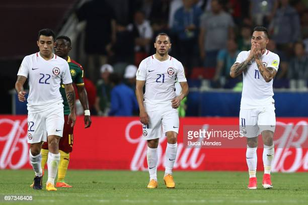 Edson Puch of Chile Marcelo Diaz of Chile and Eduardo Vargas of Chile look dejected during the FIFA Confederations Cup Russia 2017 Group B match...