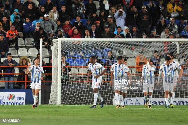 Edson Puch of Pachuca celebrates after scoring a goal against Cruz Azul during their Mexican Apertura tournament football match at the Hidalgo...