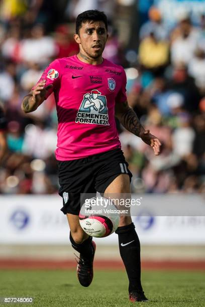 Edson Puch of Pachuca drives the ball during the 3rd round match between Lobos BUAP and Pachuca as part of the Torneo Apertura 2017 Liga MX at...