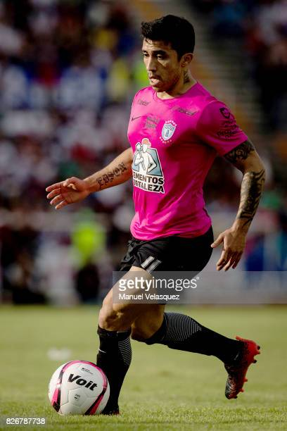 Edson Puch of Pachuca drives the ball during the third round match between Lobos BUAP and Pachuca as part of the Torneo Apertura 2017 Liga MX at...