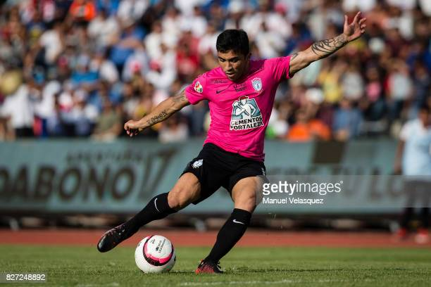 Edson Puch of Pachuca kicks the ball during the 3rd round match between Lobos BUAP and Pachuca as part of the Torneo Apertura 2017 Liga MX at...