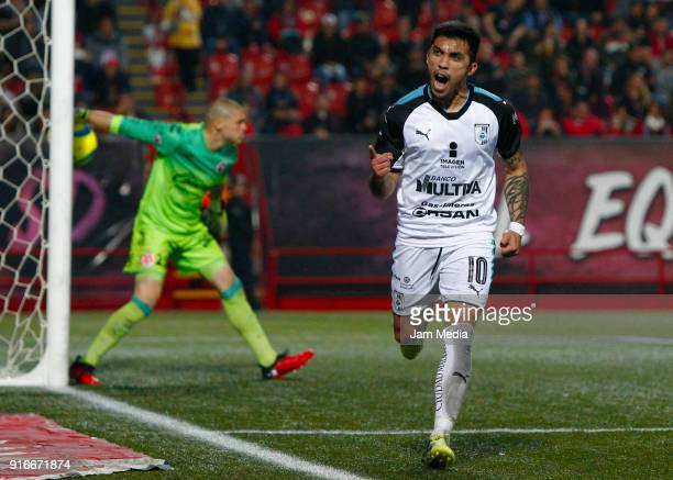 Edson Puch of Queretaro celebrates after scoring the first goal for his team during the 6th round match between Tijuana and Queretaro as part of the...