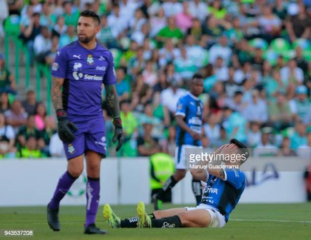 Edson Puch of Queretaro reacts during the 14th round match between Santos Laguna and Querataro as part of the Torneo Clausura 2018 Liga MX at Corona...