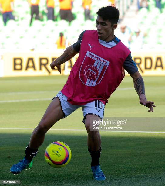 Edson Puch of Queretaro warms up before the 14th round match between Santos Laguna and Querataro as part of the Torneo Clausura 2018 Liga MX at...
