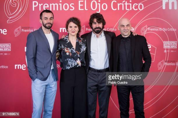 Edu Carcamo Garbine Insausti and Jose Dault of 'Kulanka Teatro' attend the 'El Ojo Critico' awards at the Reina Sofia art museum on February 12 2018...