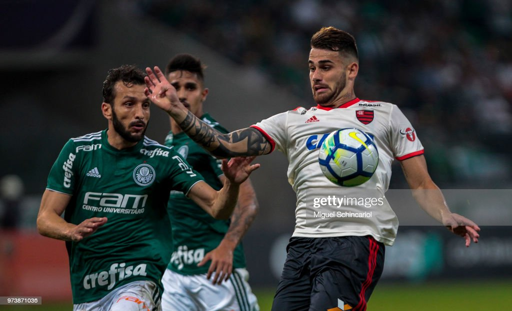 Edu Dracena (L) of Palmeiras vies the ball with Felipe Vizeu of Flamengo during a match between Palmeiras and Flamengo for the Brasileirao Series A 2018 at Allianz Parque Stadium on June 13, 2018 in Sao Paulo, Brazil.