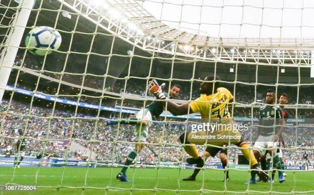 Edu Dracena of Palmerias scores the first goal of his team during the match against Vitoria for the Brasileirao Series A 2018 at Allianz Parque...