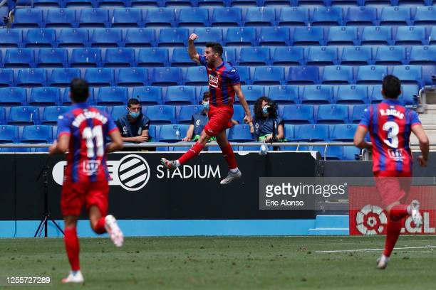Edu Exposito of Eibar celebrates after scoring his team's first goal from the penalty spot during the Liga match between RCD Espanyol and SD Eibar...