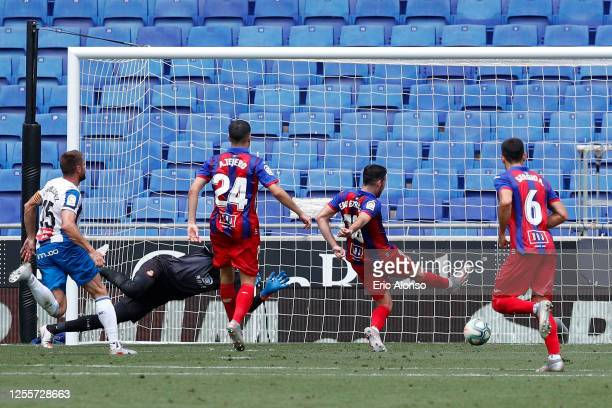 Edu Exposito of Eibar scores his team's second goal on the return after missing a penalty during the Liga match between RCD Espanyol and SD Eibar SAD...