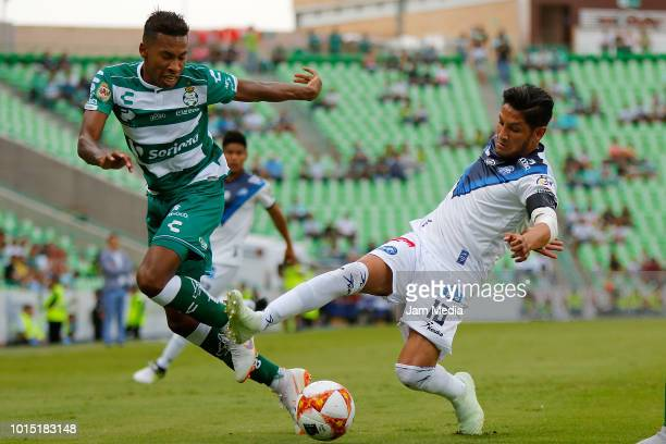 Eduar Preciado of Santos fights for the ball with Angel Reyna of Celaya during the match between Santos Laguna and Celaya as part of the Copa MX...