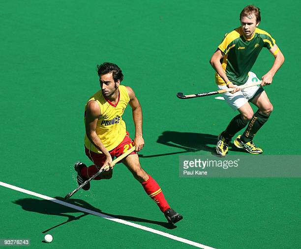 Eduard Arbos of Spain runs onto the ball during the first test match between the Australian Kookaburras and Spain at Perth Hockey Stadium on November...
