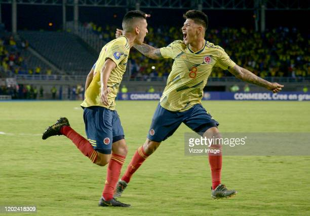 Eduard Atuesta of Colombia celebrates after scoring the second goal of his team during a match between Colombia U23 and Venezuela U23 as part of...