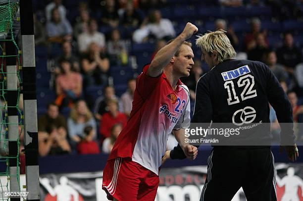 Eduard kokcharov of Russia celebrate shooting a goal past Vlado Sola of Croatioa during the handball QS Supercup 3rd place match between Croatia and...