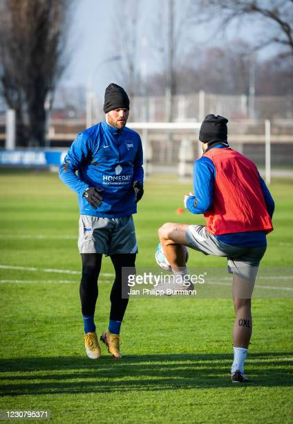 Eduard Loewen and Matheus Cunha of Hertha BSC during the training session at Schenckendorffplatz on January 26, 2021 in Berlin, Germany.