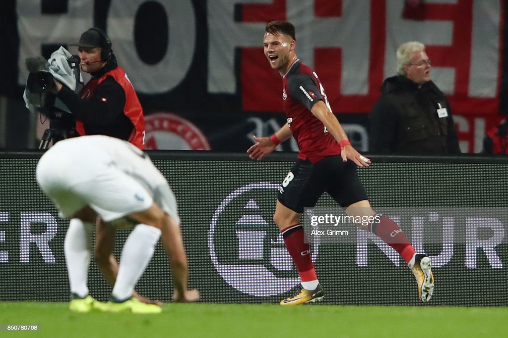 Eduard Loewen of Nuernberg celebrates his team's first goal during the Second Bundesliga match between 1. FC Nuernberg and VfL Bochum 1848 at Max-Morlock-Stadion on September 21, 2017 in Nuremberg, Germany.