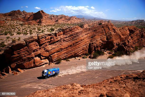 Eduard Nikolaev of Russia and Team KAMAZ Master drives with codriver Evgeny Yakovlev of Russia and mechanic Vladimir Rybakov of Russia in a 4326...