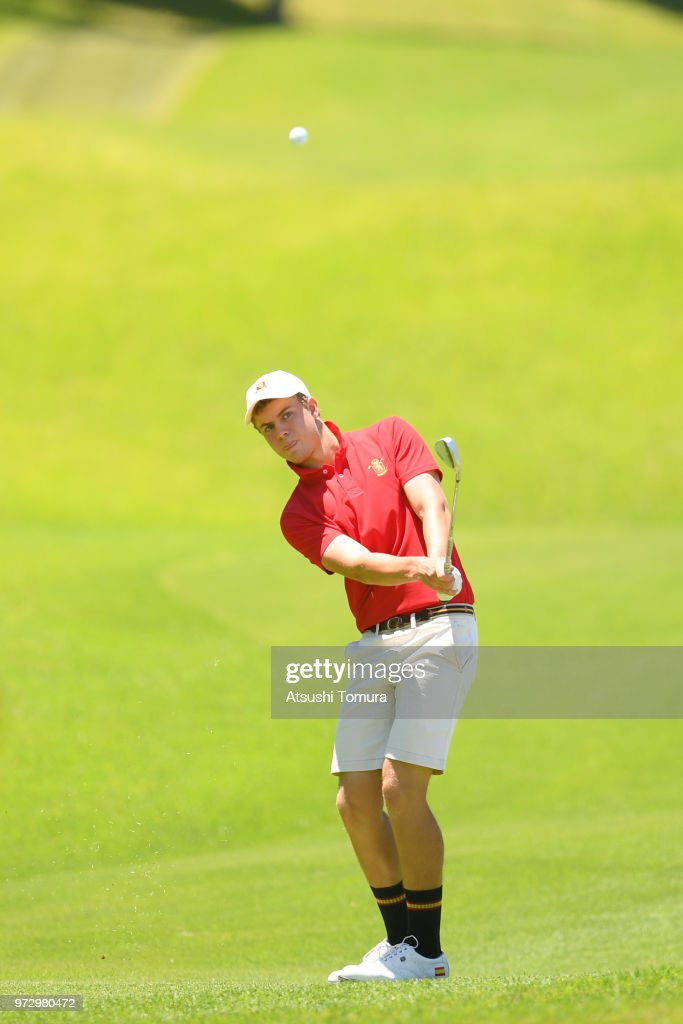 Eduard Rousaud Sabate of Spain chips onto the 18th green during the second round of the Toyota Junior Golf World Cup at Chukyo Golf Club on June 13, 2018 in Toyota, Aichi, Japan.