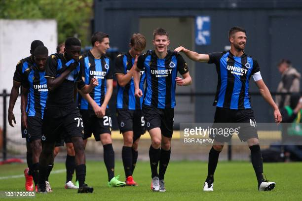 Eduard Sobol of Club Brugge celebrate first Club Brugge goal of the afternoon during the Jupiler Pro League match between Union Saint Gilloise and...
