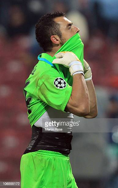 Eduard Stancioiu goalkeeper of Cluj reacts during the UEFA Champions League group E match between CFR 1907 Cluj and FC Bayern Muenchen at Dr...