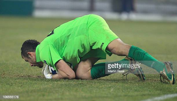 Eduard Stancioiu goalkeeper of Cluj saves the ball during the UEFA Champions League group E match between CFR 1907 Cluj and FC Bayern Muenchen at Dr...