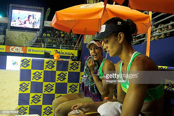 Eduarda Lisboa and Eliza Maia of Brazil in action during main draw match against Vanuatu during the FIVB Fortaleza Open on Futuro Beach on April 30...