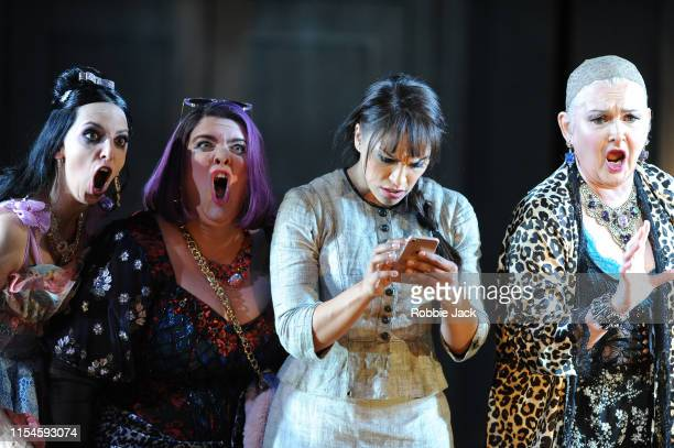 Eduarda Melo as Noemie, Julie Pasturaud as Dorothee, Danielle de Niese as Cendrillon and Agnes Zwierko as Madame de la Haitiere in Glyndebourne's...