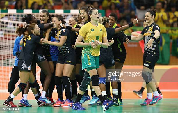Eduarda Taleska of Brazil looks dejected after loosing the Womens Preliminary Group A match between Brazil and Spain at Future Arena on August 10,...