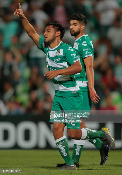 Eduardo Aguirre of Santos celebrates after scoring the fourth goal of his team during a round of sixteen second leg match between Santos Laguna and...