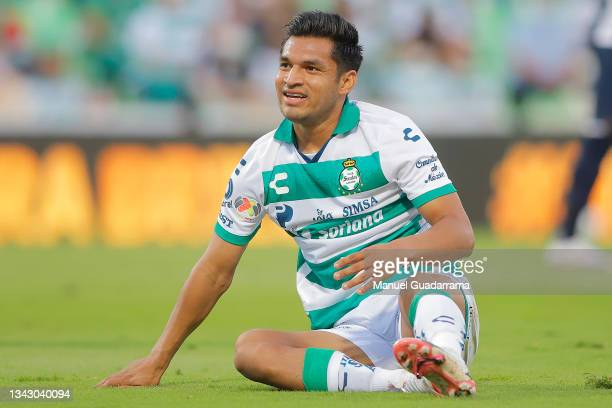 Eduardo Aguirre of Santos gestures during the 10th round match between Santos Laguna and Monterey as part of the Torneo Grita Mexico A21 Liga MX at...