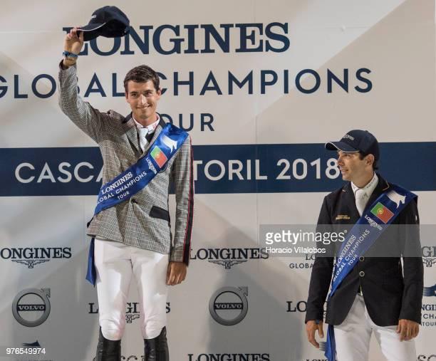 Eduardo Alvarez Aznar looks at winner Nicola Philippaerts saluting from the podium the podium during awards ceremony of 'CSI 5' Longines Global...