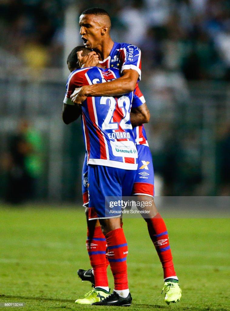 Eduardo (L) and Rodrigo Becao of Bahia reacts during the match between Palmeiras v Bahia for the Brasileirao Series A 2017 at Pacaembu Stadium on October 12, 2017 in Sao Paulo, Brazil.