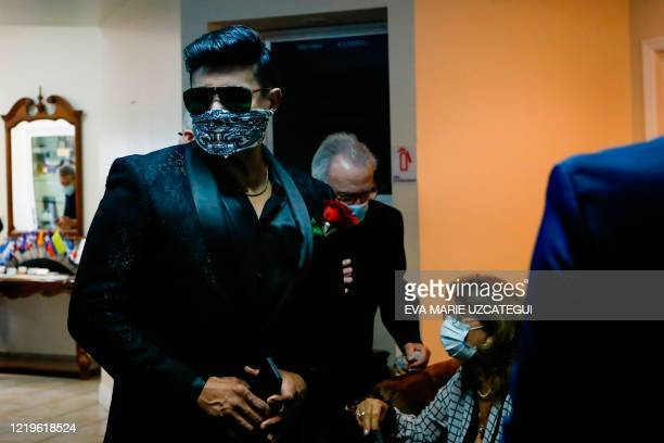 Eduardo Antonio, Cuban singer and friend of the late Cuban American singer and film actress Rosita Furnes arrives to the funeral at Auxiliadora...