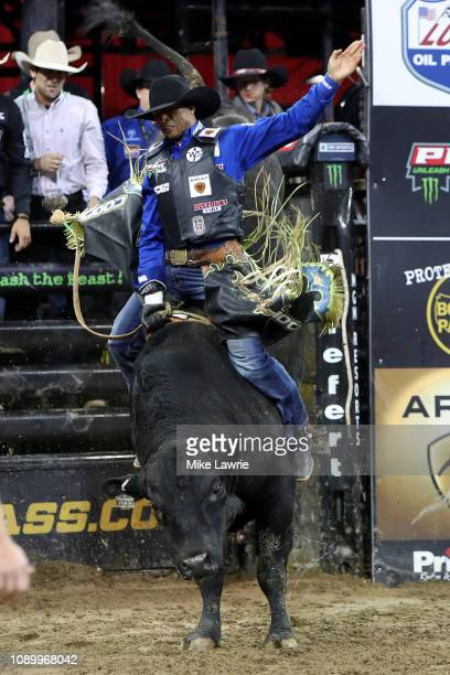 Eduardo Aparecido rides Stunt Man Ray during the PBR Unleash The Beast bull riding event at Madison Square Garden on January 04 2019 in New York City