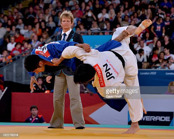 Eduardo Avila Sanchez of Mexico here on the defensive defeated Hidekatsu Takahashi of Japan by 2 yukos during the Day 2 u73kgs quarterfinal at the...