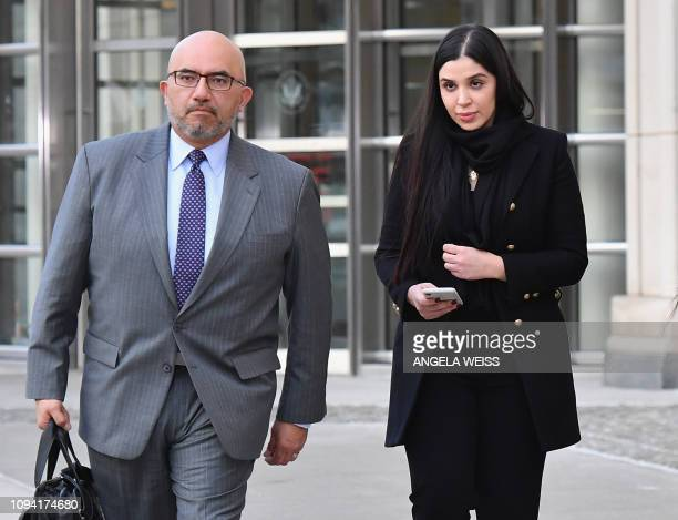 Eduardo Balarezo, attorney for Joaquin 'El Chapo' Guzman and Emma Coronel Aispuro, wife of Guzman, exit the US Federal Courthouse on February 5, 2019...