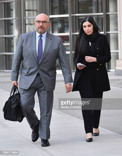 Eduardo Balarezo, attorney for Joaquin 'El Chapo' Guzman and Emma Coronel Aispuro, wife of Guzman exit the US Federal Courthouse on February 5, 2019...