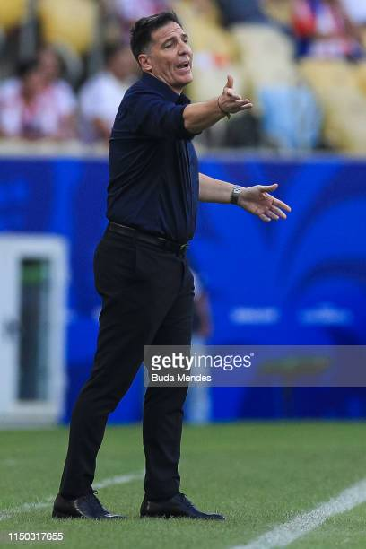 Eduardo Berizzo coach of Paraguay gestures during the Copa America Brazil 2019 group B match between Paraguay and Qatar at Maracana Stadium on June...