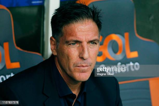 Eduardo Berizzo coach of Paraguay looks on before the Copa America Brazil 2019 group B match between Colombia and Paraguay at Arena Fonte Nova on...