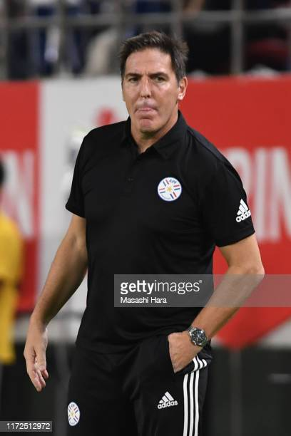 Eduardo Berizzo coach of Paraguay looks on during the international friendly match between Japan and Paraguay at Kashima Soccer Stadium on September...