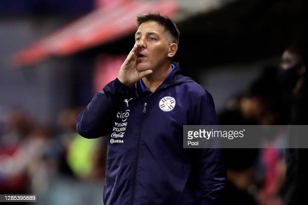 Eduardo Berizzo head coach of Paraguay gives instructions to his players during a match between Argentina and Paraguay as part of South American...