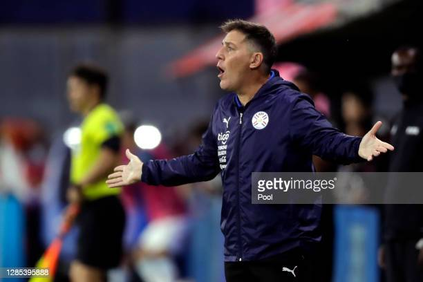 Eduardo Berizzo head coach of Paraguay reacts during a match between Argentina and Paraguay as part of South American Qualifiers for Qatar 2022 at...