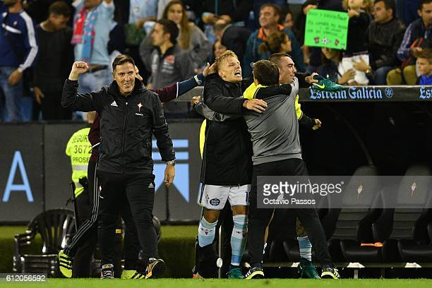 Eduardo Berizzo head coach of RC Celta de Vigo celebrates the victory at the end of the La Liga match between Real Club Celta de Vigo and Futbol Club...