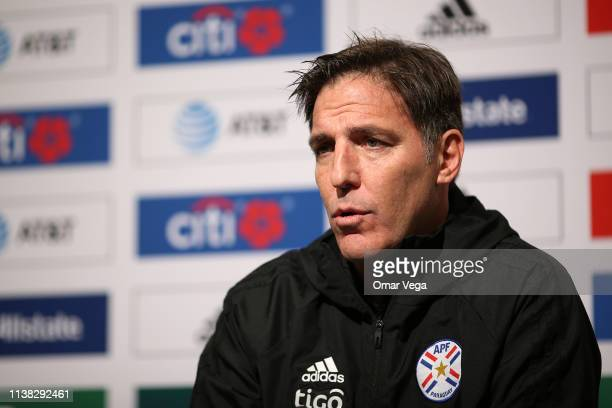 Eduardo Berizzo Head Coach of the Paraguay National Team speaks during a press conference at Levi's Stadium on March 25, 2019 in Santa Clara,...