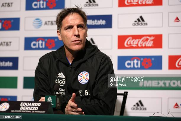 Eduardo Berizzo Head Coach of the Paraguay National Team speaks during a press conference at Levi's Stadium on March 25 2019 in Santa Clara California