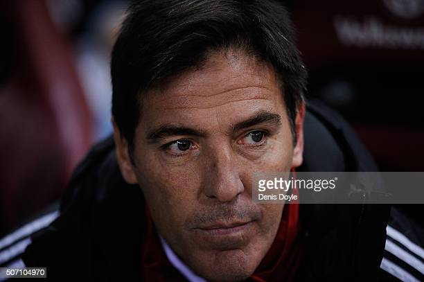 Eduardo Berizzo manager of Celta de Vigo looks out from the dugout prior to the start of the Copa del Rey Quarter Final 2nd Leg match between Club...