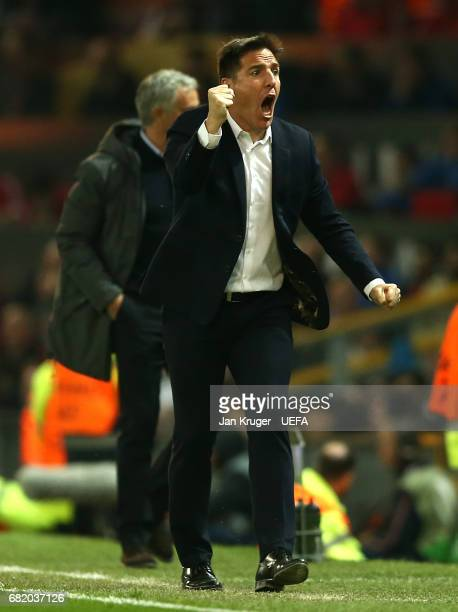 Eduardo Berizzo Manager of Celta Vigo celebrates after his side score their first goal during the UEFA Europa League semi final second leg match...